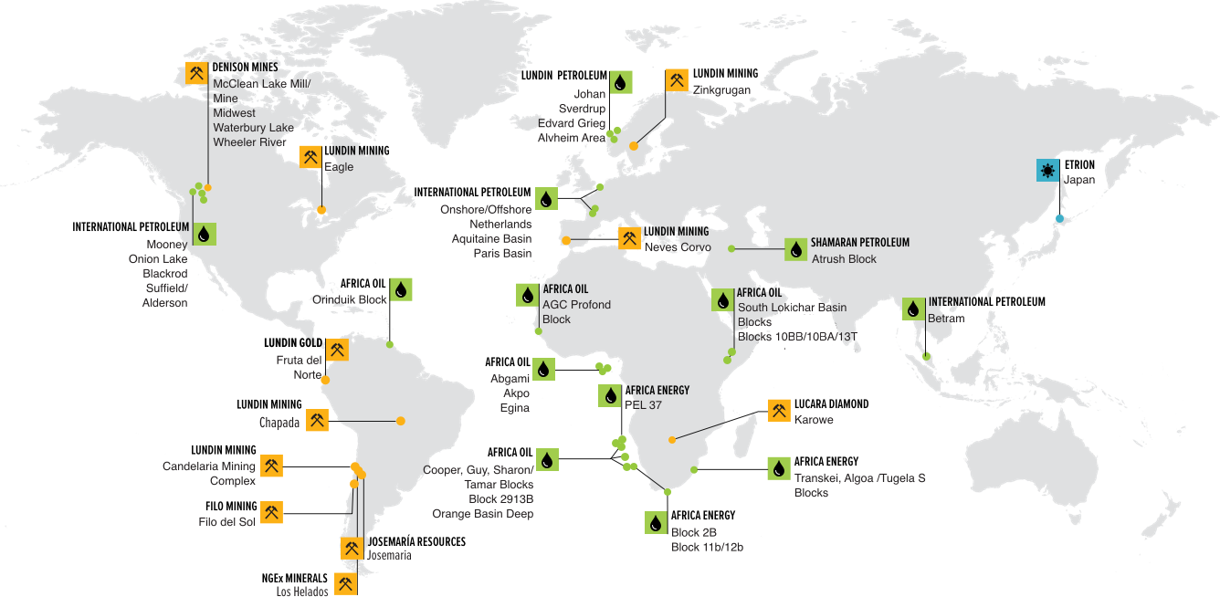 The Lundin Group Operations Map